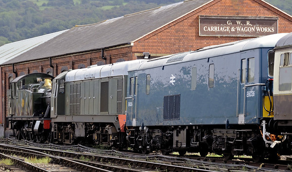 5542, D8137 (20137) & E6036 (73129), Winchcombe, Sat 1 September 2012.  The former goods shed, now the carriage and wagon works, is original.