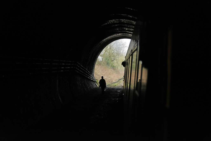 Driver changes ends, East Leake tunnel, Sun 18 February 2018.  Because there was plenty of time the train made an extra run from Loughborough to the tunnel and back.