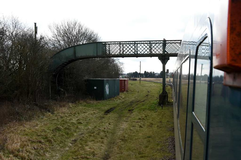 Fifty Steps Junction, Ruddington, Sun 18 February 2018 1. This is where the branch (left) from Ruddington joins the Loughborough - Nottingham section of the Great Central Railway main line from London Marylebone to Sheffield and Manchester.  GCR Nottingham trains from Ruddington reverse here before going to Loughborough.