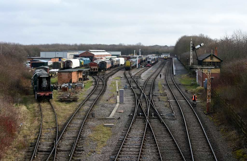 Ruddington, Sun 18 February 2018 1. The transport heritage centre is on the site of a former Royal Ordnance Factory.  The GCR Nottingham reaches it by a spur off the Loughborough - Nottingham section of the Great Central Railway main line from London Marylebone to Sheffield and Manchester.