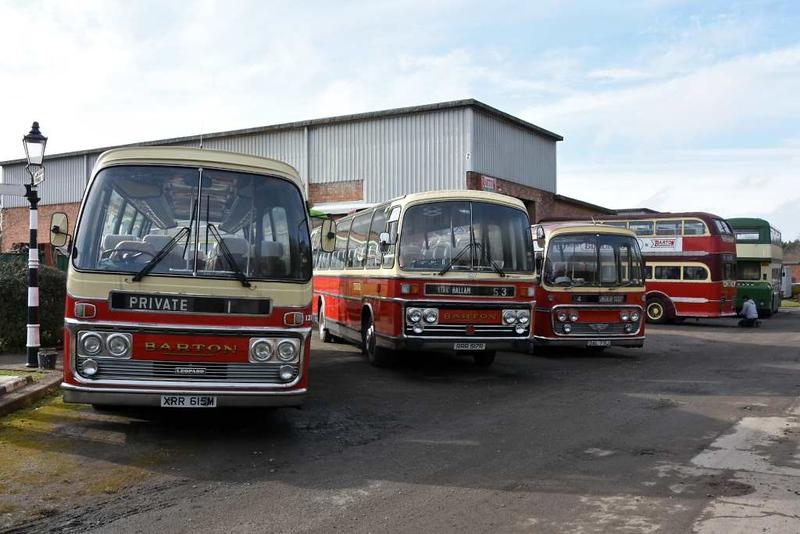 Nottingham Area Bus Society vehicles,  Nottingham Transport Heritage Centre!  Ruddington, Sun 18 Februay 2018.  Part of the society's collection.  At left are three Barton Transort coaches: 1973 Leyland Leopard XRR 615M; 1976 Bedford RRR 517R & 1970 AEC Reliance DAL 771J.
