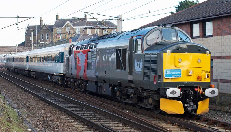 37884, 5Z37, Carnforth, Fri 12 February 2016 - 1047 1.  A Kilmarnock - Hotchley Hill move to the Great Central Railway Nottingham with the 125 Group's 12092, 10206 & 11074, which had been repainted at Wabtec.