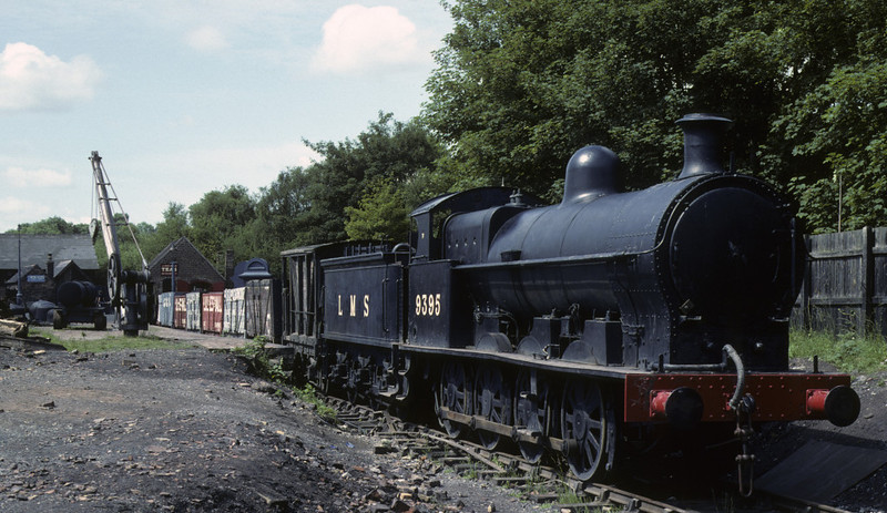 LMS 9395, Blists Hill, Ironbridge Gorge Museum, June 1983.  The replica goods shed had not been built when Les Tindall took this photo.