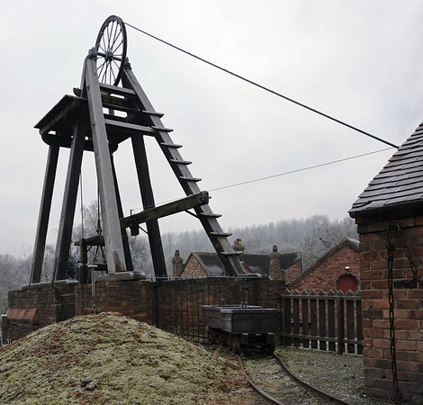 Colliery, Blists Hill, Ironbridge Gorge Museum, 13 December 2012 1.  The headgear is a replica and is operational, the 600ft mine shaft is original.