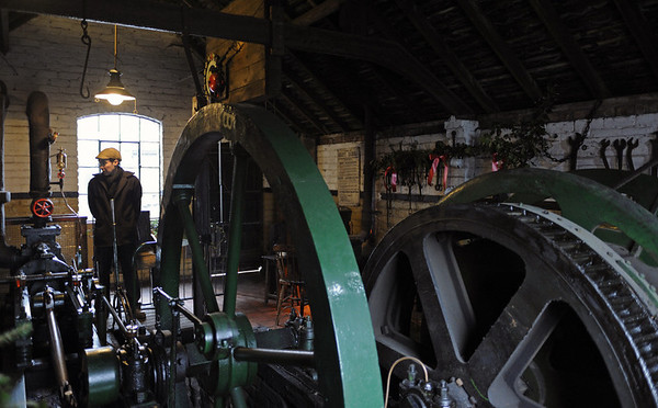 Colliery, Blists Hill, Ironbridge Gorge Museum, 13 December 2012 2.  This 19th century winding engine operates the pithead gear.  It has come from Jackfield, between Ironbridge and Coalport, and is in a replica of the engine house that used to stand on this site.