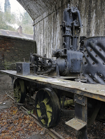 Coalbrookdale No 6, Coalbrookdale, Ironbridge Gorge Museum, 13 December 2012 1.  0-4-0ST built by Coalbroodale and rebuilt as an 0-4-0VBTG by Sentinel (6185 / 1925).  NB the chain drive and the Coalbrookdale worksplate on the sandbox.
