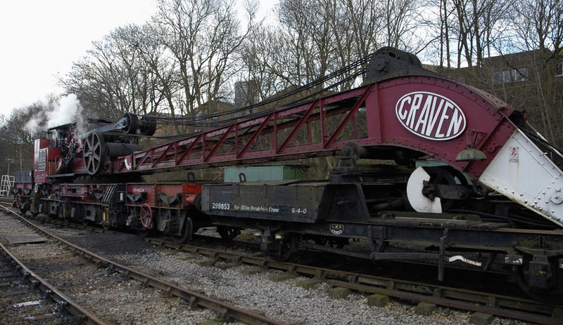 ADRV  95206, LMS 50 ton Craven steam breakdown crane, Ingrow, Sun 20 February 2005 1.  Built in 1931 with 36 tons capacity, and later uprated.