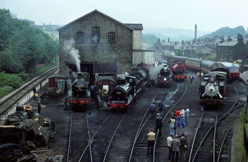 Haworth shed yard, 14 August 1977.  Locos include GNR 4-4-2 990 Henry Oakley, 52044, 75078 & 30072.  Photo by Les Tindall.