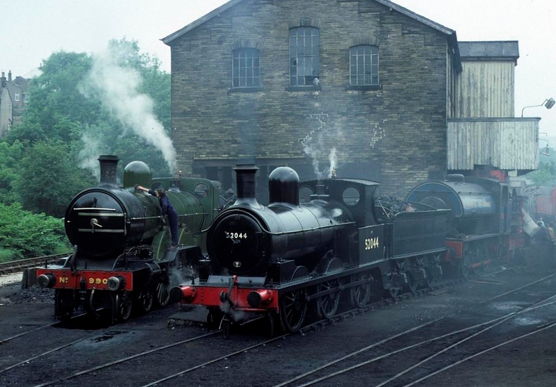 GNR 4-4-2 990 Henry Oakley & 52044, Haworth, 14 August 1977.  Photo by Les Tindall.
