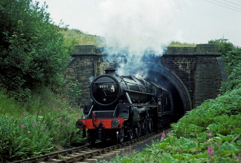 45212, leaving Mytholmes Tunnel with the same train, 14 August 1977.  Photo by Les Tindall.