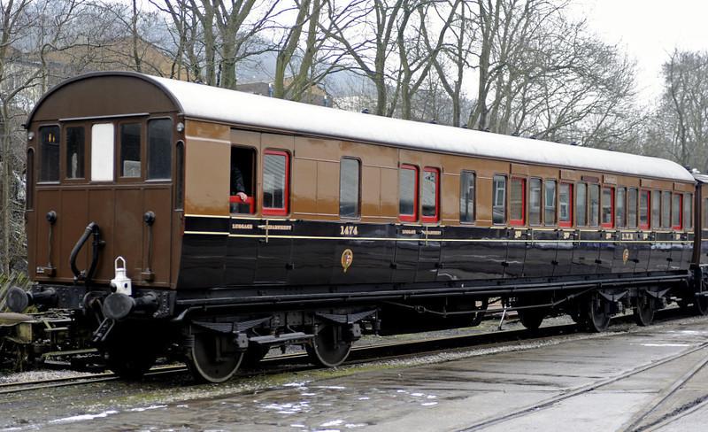 LYR 1474, Ingrow, Fri 10 February 2012.  Third class compartment brake built at Newton Heath in 1910.