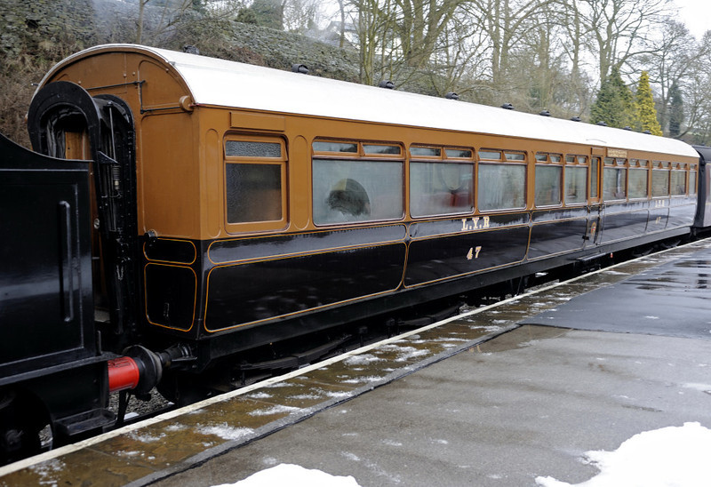 LYR club saloon No 47, Oxenhope, Fri 10 February 2012 1.  The saloon was built at Newton Heath in 1912 for the exclusive use of the Lytham St Anne's and Blackpool Travelling Club, business men who lived on the Fylde coast but worked in Manchester.  Club class travel was born!