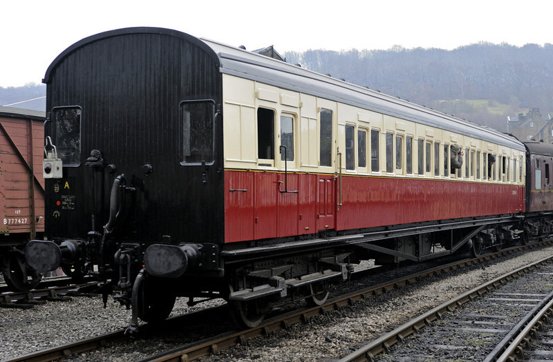 S3554, Keighley, Fri 10 February 2012.  Southern Rly continental brake third designed by Maunsell and built in 1924 by Metropolitan Carriage & Wagon, Birmingham.  Also owned by the Vintage Carriages Trust, it has been on the KWVR from the line's earliest days.