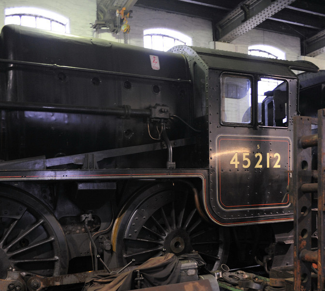 45212, Haworth, Fri 10 February 2012.  The Black 5 has just been withdrawn for overhaul.
