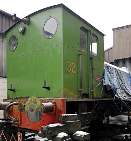 32 Huskisson, Haworth, Fri 10 February 2012.  Hunslet 0-6-0DM 2699 / 1944 from the Mersey Docks & Harbour Board..