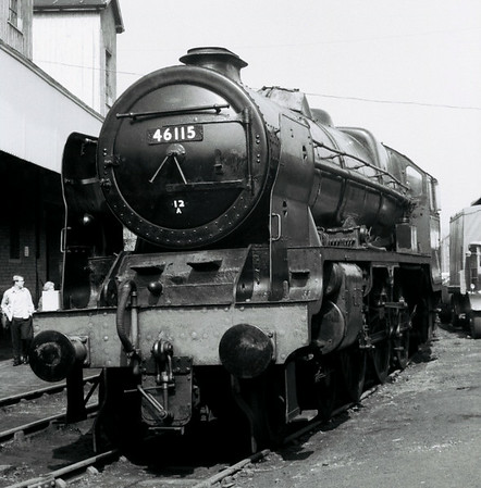 46115 Scots Guardsman, Haworth, Sun 16 April 1967 1.  6115 was built in Glasgow by North British in 1927 and rebuilt at Crewe in 1950.  It was withdrawn from Carlisle Kingmoor in January 1966 - NB the painted 12A shedcode.  It was towed from Carlisle to the KWVR on 11 August 1966 by 75051.