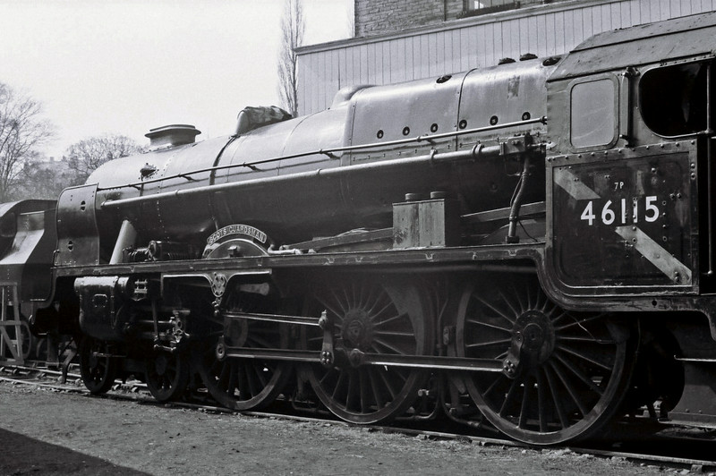46115 Scots Guardsman, Haworth, Sun 16 April 1967 2.   NB that the connecting rods have been removed, but that the nameplates and numberplate are still in place, unlike the shedplate.