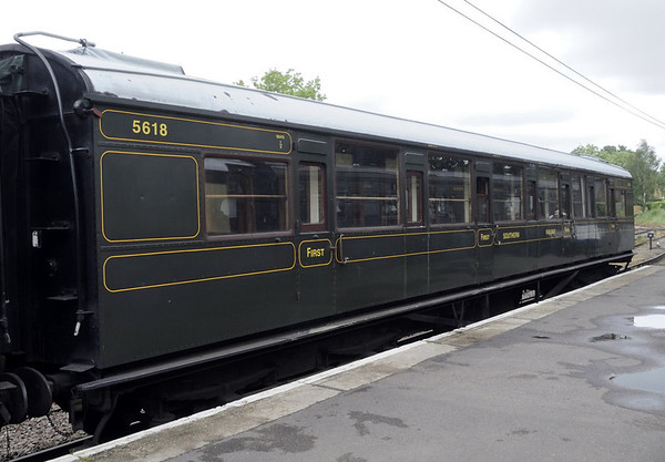 Southern Rly 5618, Tenterden town station, Fri 8 June 2012.  Built in 1931, and seen in Maunsell era Southern Rly livery.  4432, built in 1933, was also on site.