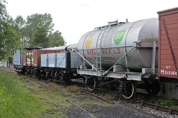 Wagons, Bodiam, Fri 8 June 2012.  Shell-Mex 7522, Tilmanstone colliery (unnumbered), Tenterden brewery No 148 & SECR brakevan 2010.