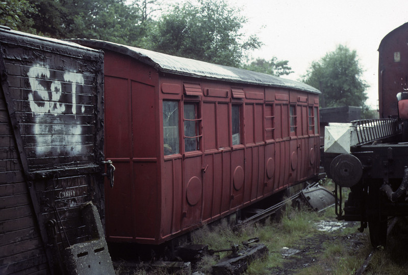 North London Rly coach body, Haverthwaite, 1 August 1976.     This coach was restored by the Furness Railway Trust to run with Furness Rly 0-4-0 No 20. Photo by Les Tindall.