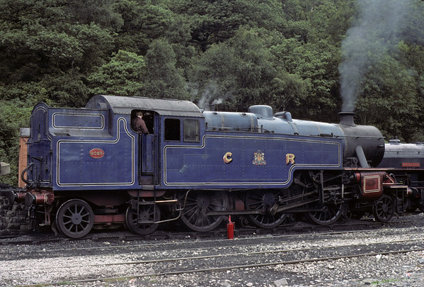 2085, Haverthwaite, 1 August 1976.    The Fairburn 2-6-4T in Caledonian Rly fancy dress.  Bagnall 0-6-0ST Princess is at right. Photo by Les Tindall.