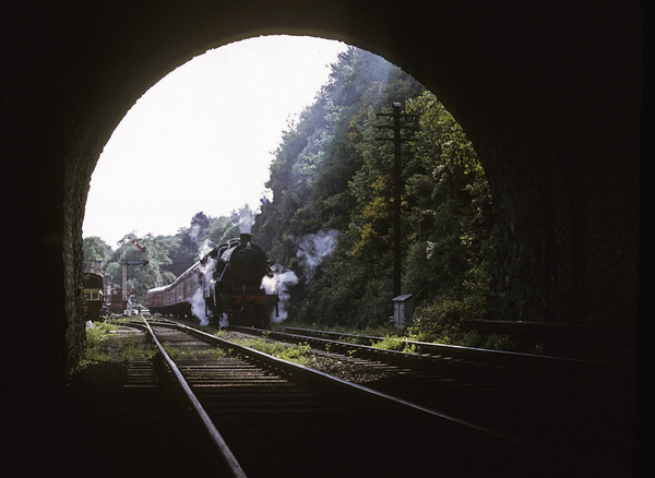 2073 leaves Haverthwaite, 9 June 1973. Photo by Les Tindall.