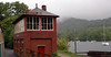 Lakeside signal box, Sun 21 May 2006.  Lake Windermenre is beyond.