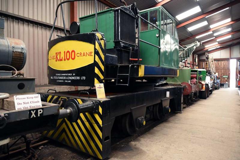 Jones KL 100 shunting crane 10071, Haverthwaite, Sat 29 April 2017.  Built in 1952, now used by the LHR for track maintenance.