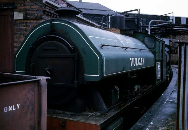 Vulcan, Longbridge British Leyland (former Austin) works, March 1973.  Bagnall 2994 / 1950.  Also out of use by the time of this photo.  Note the British Leyland cabside badge.  In 2017 this loco was at the Stephenson Ralway Museum, North Shields.  Photo by Les Tindall.