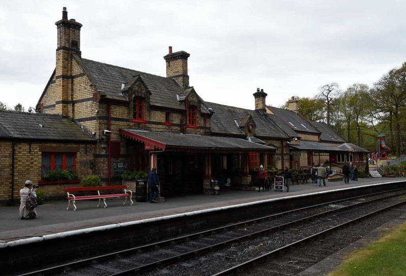Haverthwaite station, Sat 29 April 2017 2. The building at right, behind the signal box, is new, erected since my previous visit in 2007.  All the others were built by the Furness Railway in 1869.