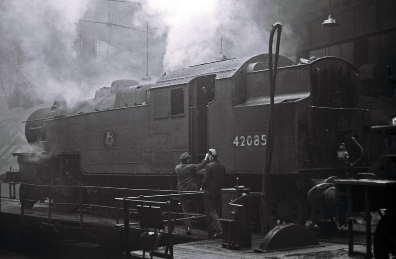 42085, Manningham shed, Bradford, April 1967.  The Fairburn 2-6-4T still sports its original BR badge.  It was purchased for preservation upon withdrawal, and has been on the Lakeside & Haverthwaite Railway since 1970.