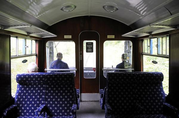 Class 104 DMU, approaching Llangollen, Sat 27 August 2011.  The first class compartment.