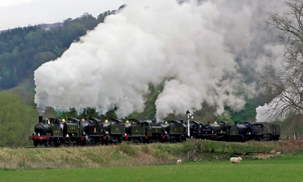 1450, 9466, 5224, 4160, 5643, 6430, 5199, 78019, 7822 Foxcote Manor, 3802 & 34081 92 Squadron, Carrog, 22 April 2007 - 1822 1.   This amazing 11 loco cavalcade made two runpasts at Carrog to close the highly successful 'Steel, steam and stars' gala.  Remarkably, every loco in the spectacle except 1450 and 6430 is a former Barry wreck.