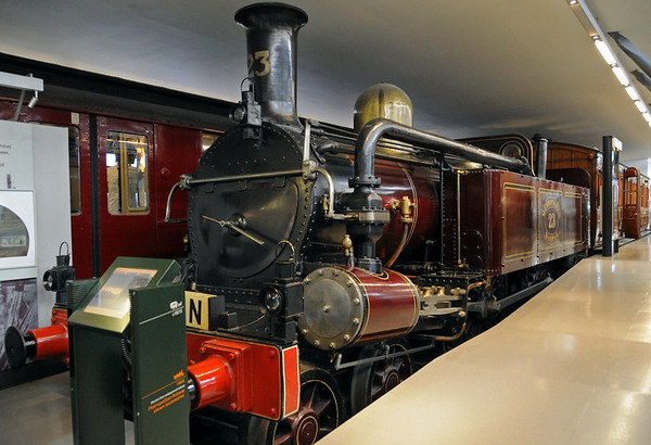 Metropolitan Rly 4-4-0T No 23, London Transport Museum, Covent Garden, Sun 1 April 2012 1.  Built by Beyer Peacock in 1866 for the Paddington - Farringdon Street section of what is now the Circle Line, the world's first underground railway.  It had opened in 1863, initially using Great Western locos and rolling stock and then, after a dispute, others hired from the Great Northern until the Met's own equipment was delivered.  The line was soon carrying 25,000 passengers per day.