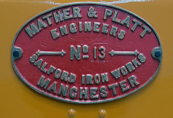 City & South London Rly No 13, London Transport Museum, Sun 1 April 2012 2.  Mather & Platt supplied the electrical equipment, Beyer Peacock the mechanical parts.