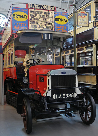 1911 London General B-type petrol bus LA 9928, London Transport Museum, Covent Garden, Sun 1 April 2012.  Introduced in 1910, the B-type was enormously successful.  Some 2,500 were built in only three years, displacing all horse buses and most other motor buses in London.  Many served with the British Army in France during the First World War.  This one worked from 1911 to 1924.  Bus route 11 has operated from Liverpool Street since 1906.  It now runs to Fulham, passing many London landmarks - recommended for sight seeing!