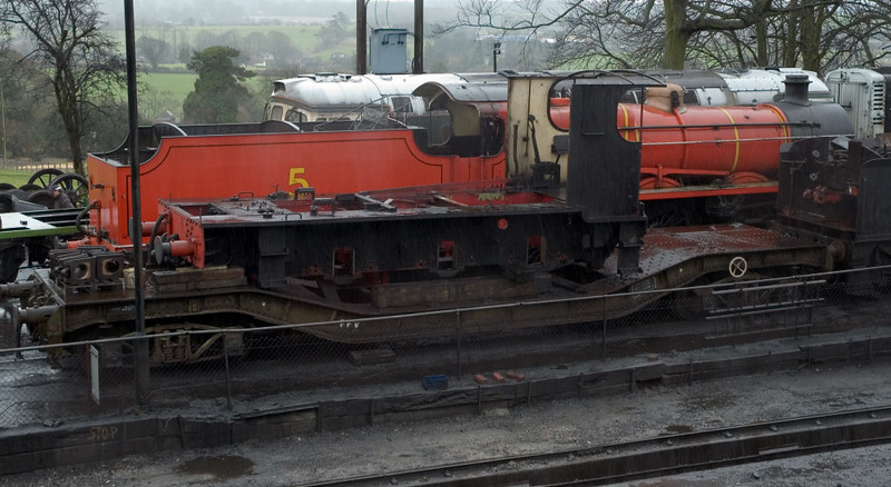 No 5 [31625], Ropley, 4 March 2007.  In front are the frames of 30499(?)
