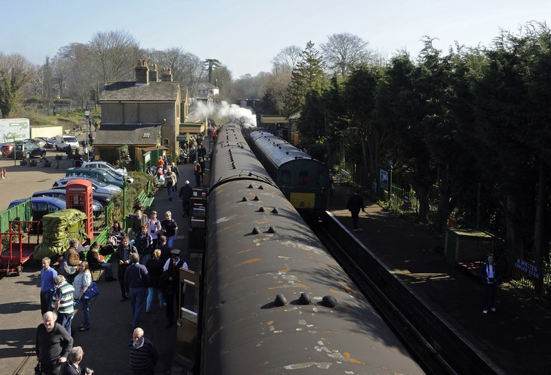 Alresford station, Sun 9 March 2014.  Looking east towards Ropley.  The shuttle headed by Metropolitan No 1 is at right.