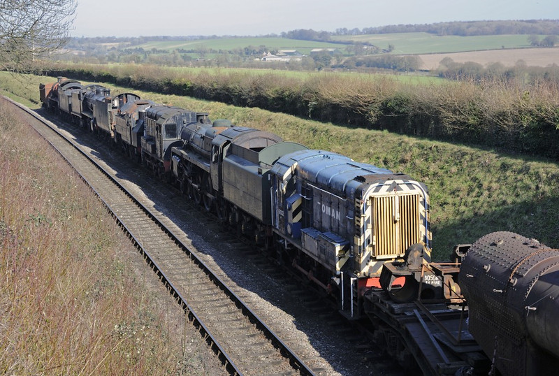 Stored locos, Ropley, Sun 9 March 2014.  Nearest are boiler and cylinders off 30506, then 08032 Oman, 73096, D3358, 41312, Bulleid tender, 1874, 31625 & Maunsell tender.
