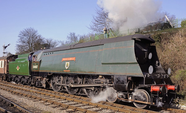 34007 Wadebridge, Ropley, Sun 9 March 2014 2 - 1023.  Departing with the 1005 Alresford - Alton.