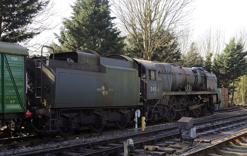 34016 Bodmin, Alresford, Sun 9 March 2014.  Also at Alresford but inaccessible were 34058 and 80150.