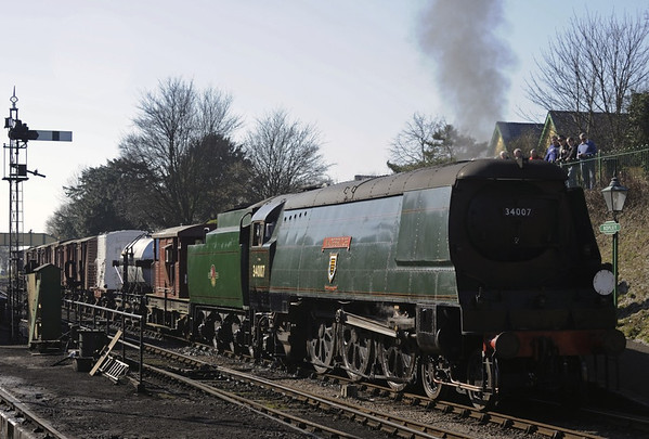 34007 Wadebridge, Ropley, Sun 9 March 2014 3 - 1331.  Departing with the 1300 Alresford - Alton demonstration freight.