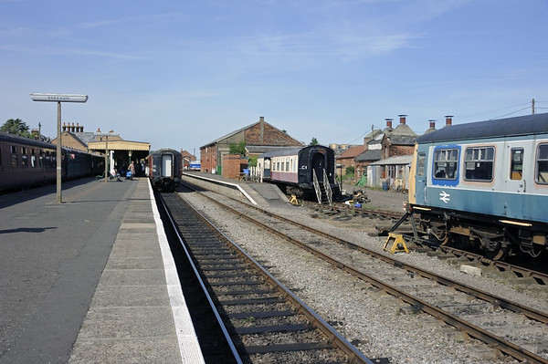 Dereham station, Wed 28 August 2013 1.  Looking north.   51434 Matthew Smith 1974 - 2002 is at right.