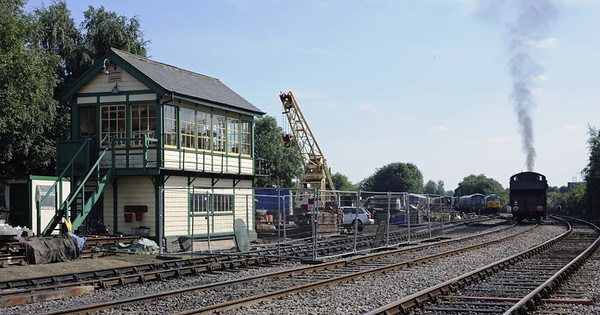 Dereham Central signalbox, Wed 28 August 2013.  Looking south. The signalbox has come from Stratford (London).  9466 is at right.  It will work the 1530 to Wymondham Abbey, from which most subsequent photos were taken.
