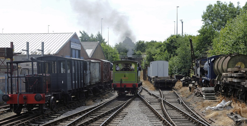 Moor Road station, Middleton Rly, Leeds, Sun 14 July 2013 1.  Looking south towards the M621 and Middleton Park.