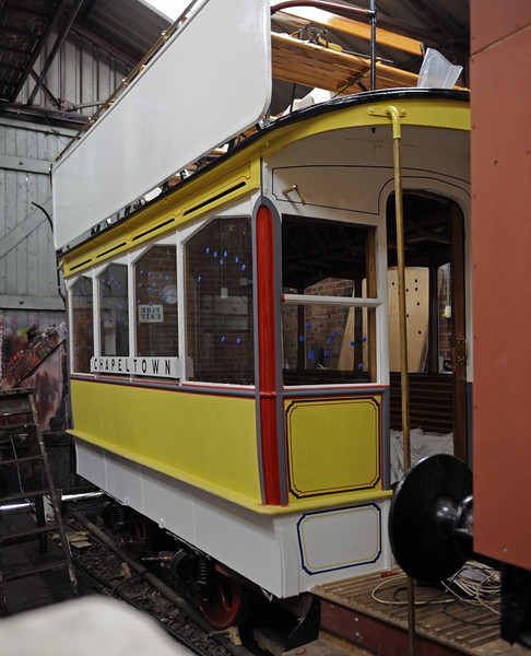 Leeds horse tram 107, Moor Road station, Middleton Rly, Leeds, Sun 14 July 2013.  Built in 1898 by Milnes of Birkenhead.  Replaced by electric trams as early as 1901 and converted to static use.  Owned and under restoration by the Leeds Transport Historical Society.
