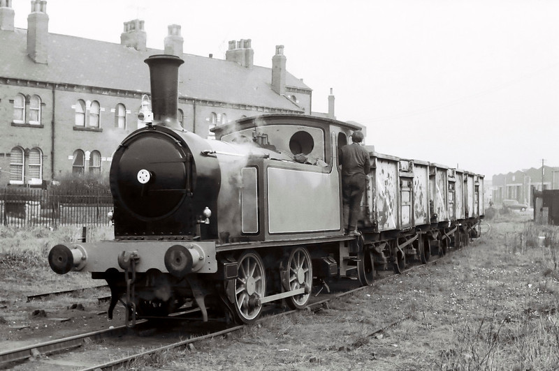 North Eastern Rly 1310, Balm Road branch, 15 April 1967 1. Here are nine shots showing 1310 propelling loaded wagons to the BR interchange at Balm Road on the Midland main line, and returning with empties.  The sequence opens with the train heading away from the camera past Gasholder Terrace towards Balm Road.  NB the lack of headlamps or brakevan, and that 1310 still has no NER markings.
