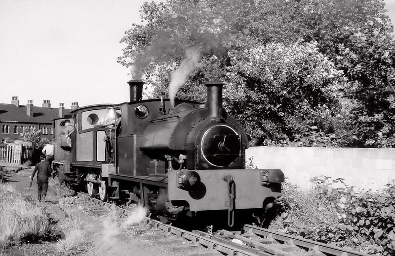 Bagnall 2710, NER 1310 & Avonside 21(?), east of Moor Road, 2 July 1966    The Avonside is being propelled to Clayton's Moor End works.