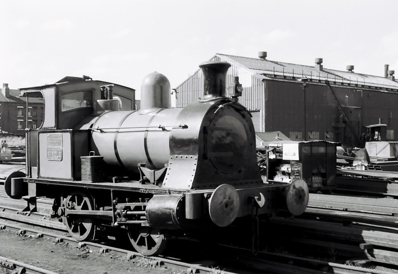 Windle, Dartmouth yard, 2 July 1966.  The Borrows 0-4-0T (53 / 1909) was built in St Helens and spent its life there working for Pilkington Glass.  They presented the loco to the Middleton in 1961.  It stayed on the Middleton until 2011, when it moved to the Ribble Steam Rly, Preston.