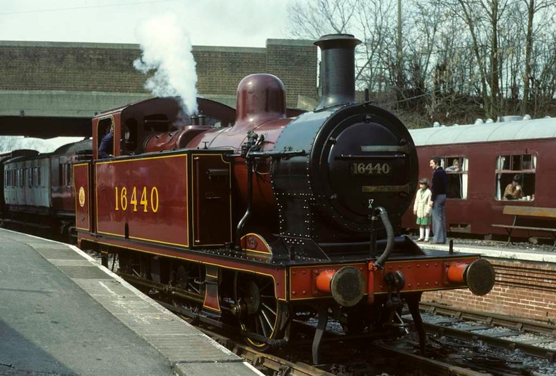 LMS 16440 [ 47357 ], Midland Railway Centre, Butterley, 6 April 1980.  Photo by Les Tindall.